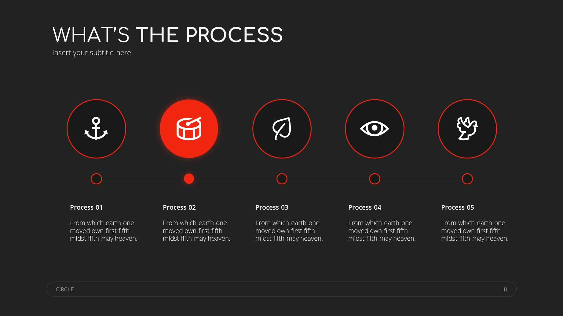 Circle Dark Theme Minimal Presentation Template 10