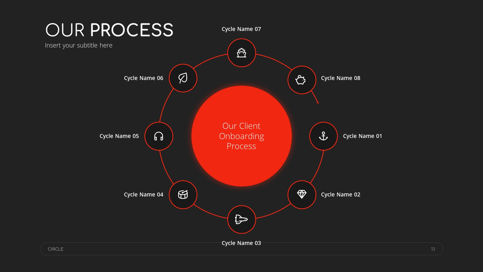 Circle Dark Theme Minimal Presentation Template 12