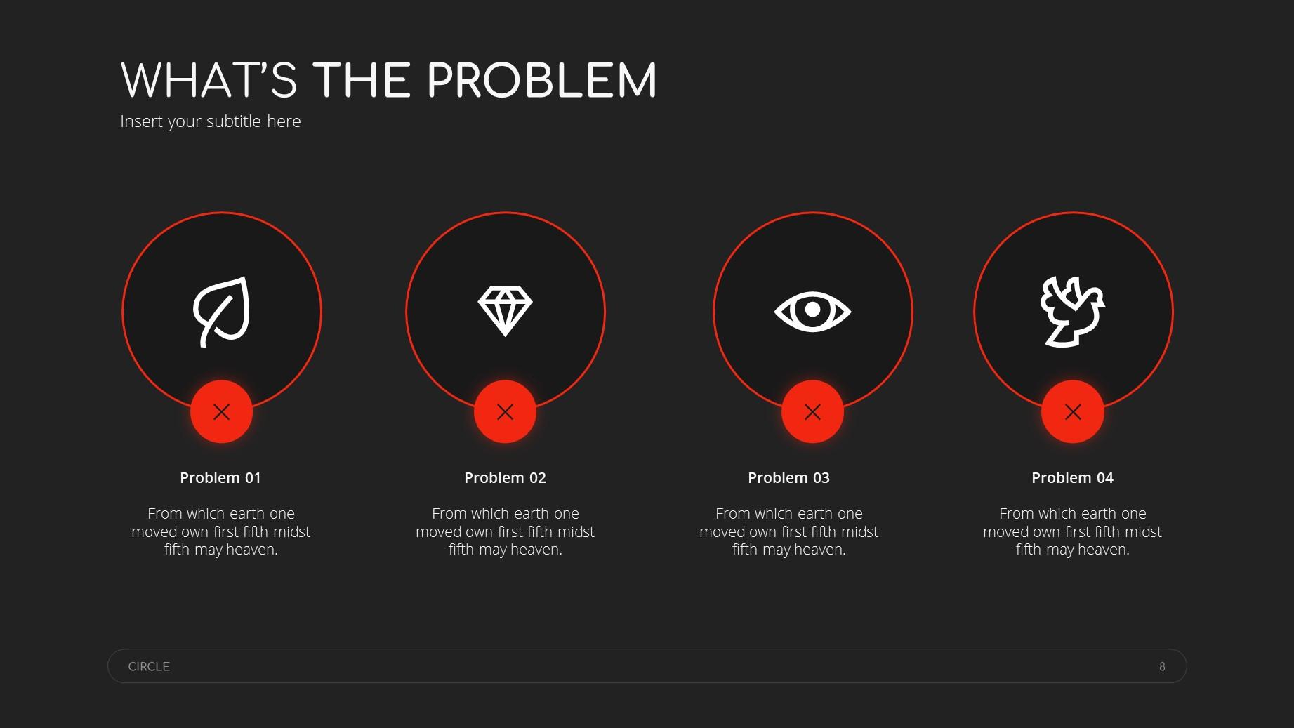 Circle Dark Theme Minimal Presentation Template 7